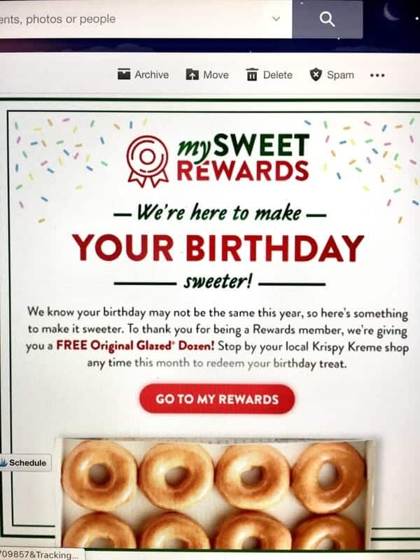 photo of birthday email from Krispy Kreme showing free dozen donuts offer
