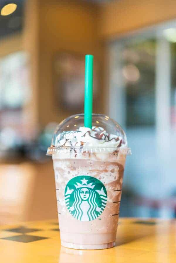 Starbucks frappucino beverage on a table