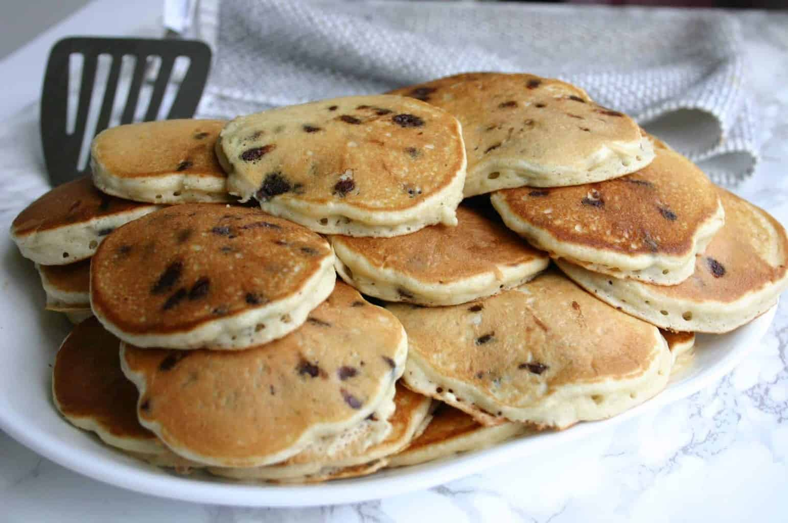 Best Chocolate Chip Pancake Recipe for the Freezer! Freeze extras and reheat in the microwave or toaster oven!