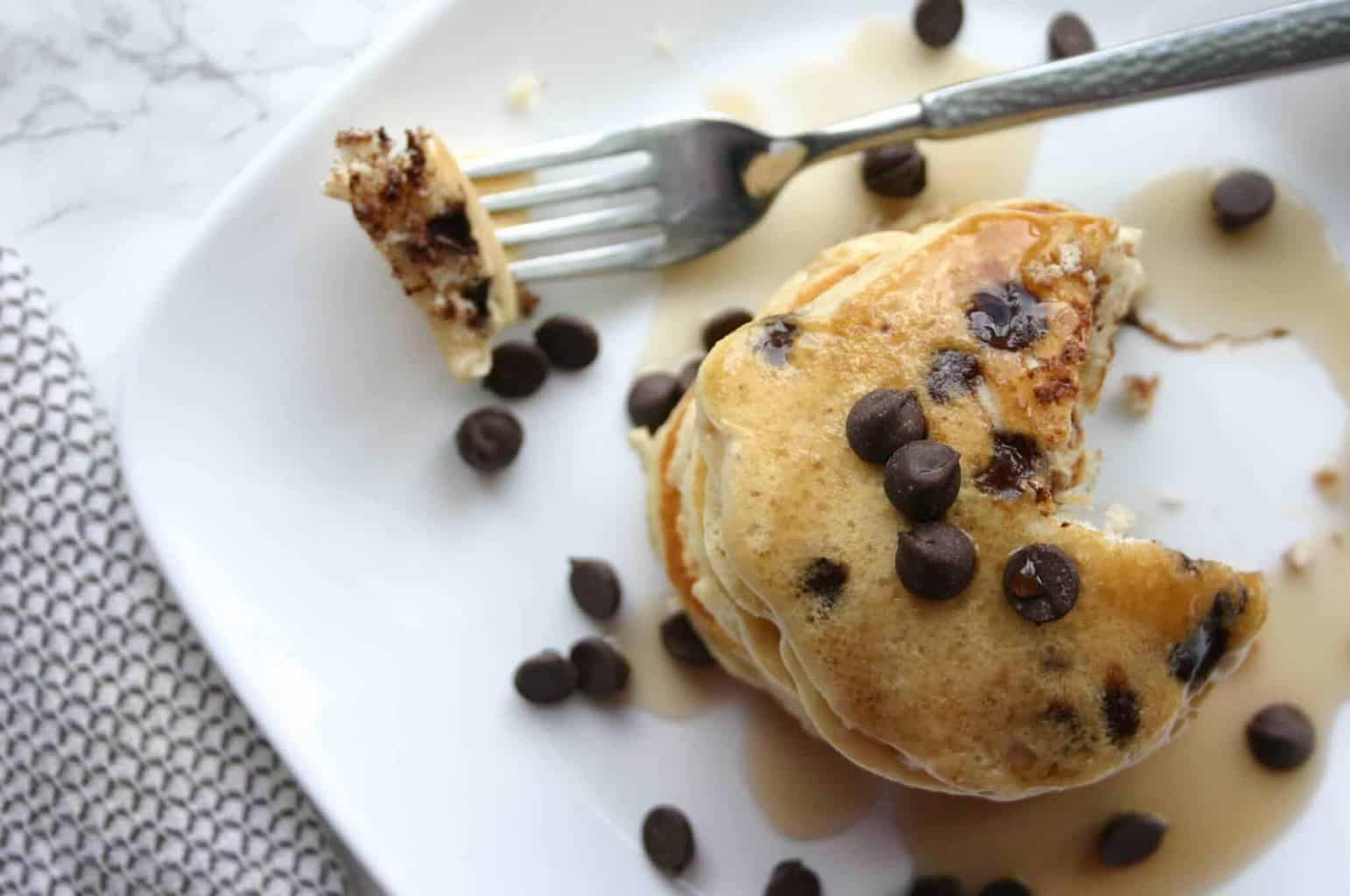 Easy Chocolate Chip pancake recipe with muffin mix!