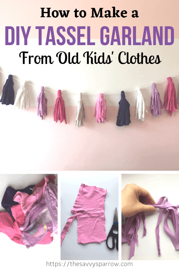 Make this easy DIY tassel garland from your old kids clothes! Upcycle old clothes into beautiful DIY room decor! Learn how to repurpose old clothes into this cute craft!