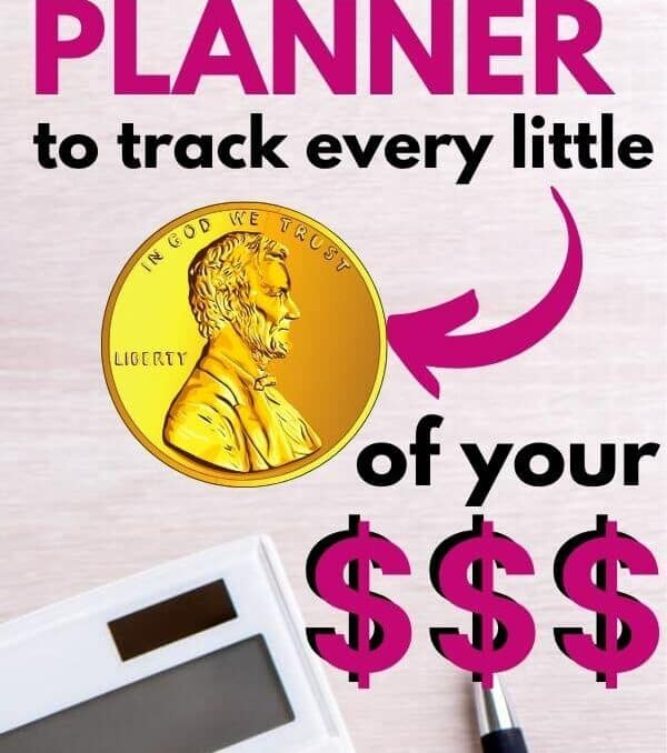 calculator and pen on a table with text how to use your planner to keep track of every little penny of your money