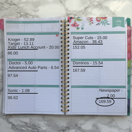Track Personal Finances with a Weekly Planner