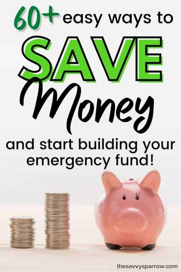 piggy bank with text 60 ways to save money