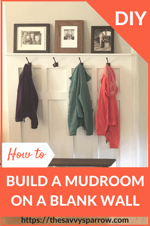 DIY Mudroom on a blank wall!
