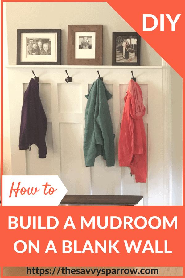 DIY Mudroom on a blank wall!