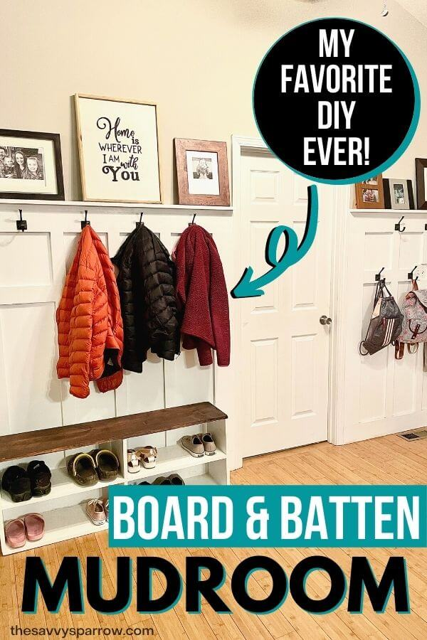 DIY board and batten mudroom wall