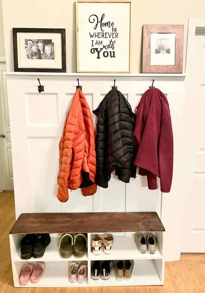 DIY mudroom with bench and coat hooks