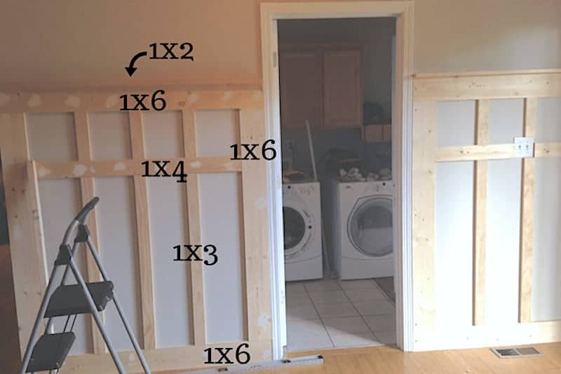 board and batten measurements for DIY mudroom wall