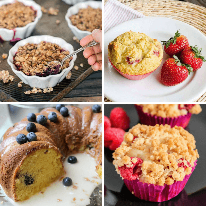 Homemade muffins and coffeecakes with fruit