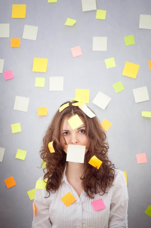 Overwhelmed Mom with post it notes all over her