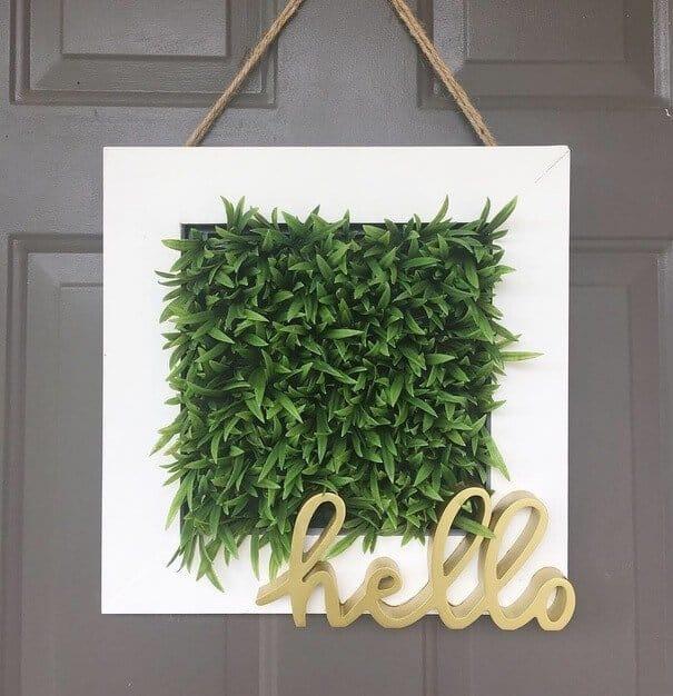 DIY farmhouse wreath with greenery