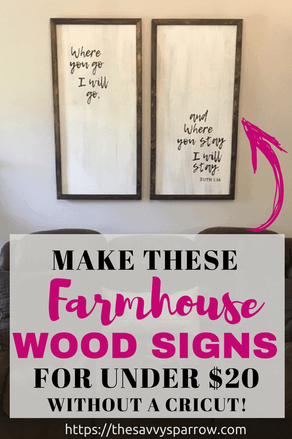 Click here to learn how to make DIY farmhouse wood signs without a stencil!