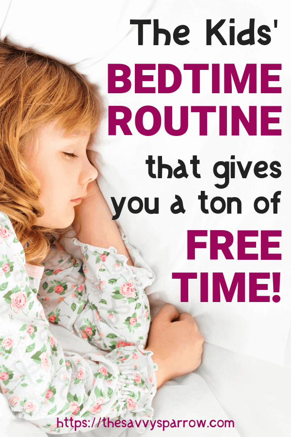 This bedtime routine for kids gives you a TON of free time to destress at the end of the day! Use this bedtime routine for kids to make sure your kids get enough sleep.