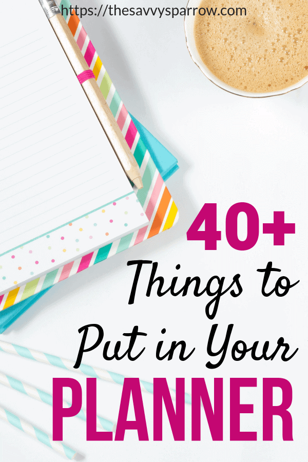 Need planner ideas for things to keep track of in your planner? Check out this huge list of planner organization tips to stay organized!