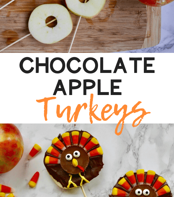 chocolate apple slices decorated to look like Turkey treats for kids