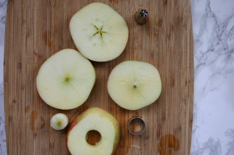 apple slices on a cutting board