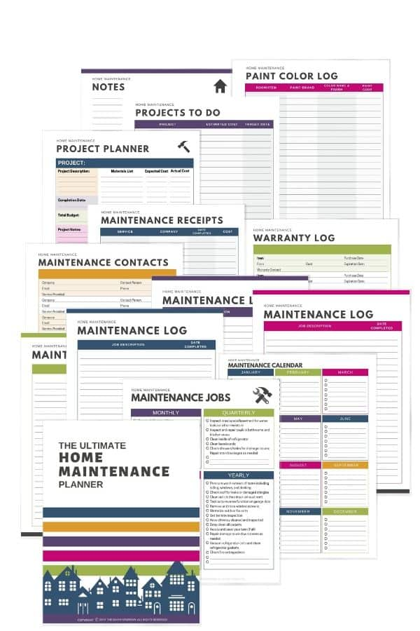 Printable home maintenance planner