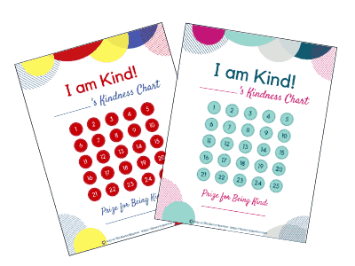 Use these kindness charts to raise nice kids! Recognize your child's acts of kindness with this free printable!