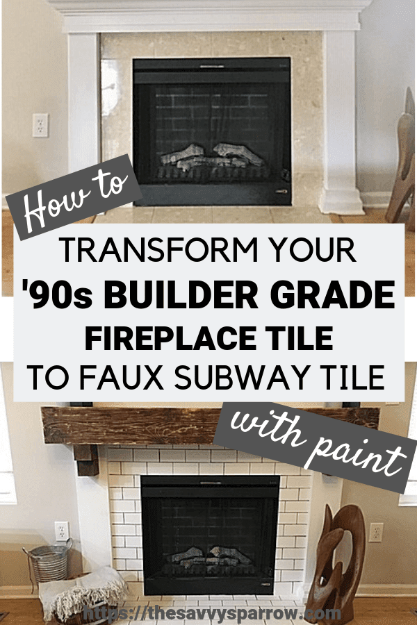 Want to know how to paint fireplace tile to look like subway tile? Try this tutorial to paint tile on your fireplace and transform it from boring builder grade tile to faux subway tile without a stencil!