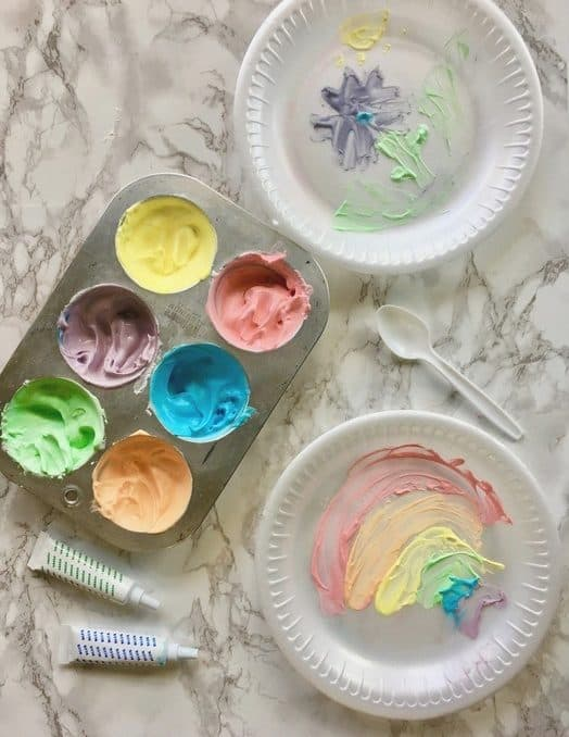 Homemade edible finger paint recipe for toddlers! A fun rainy day activity for kids!