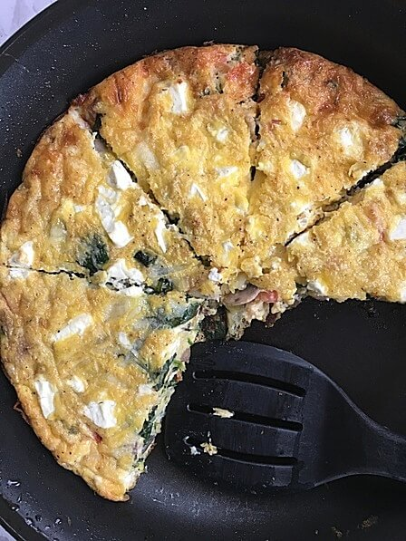 Try this delicious and easy keto cheese veggie frittata for a quick low carb meal prep breakfast!