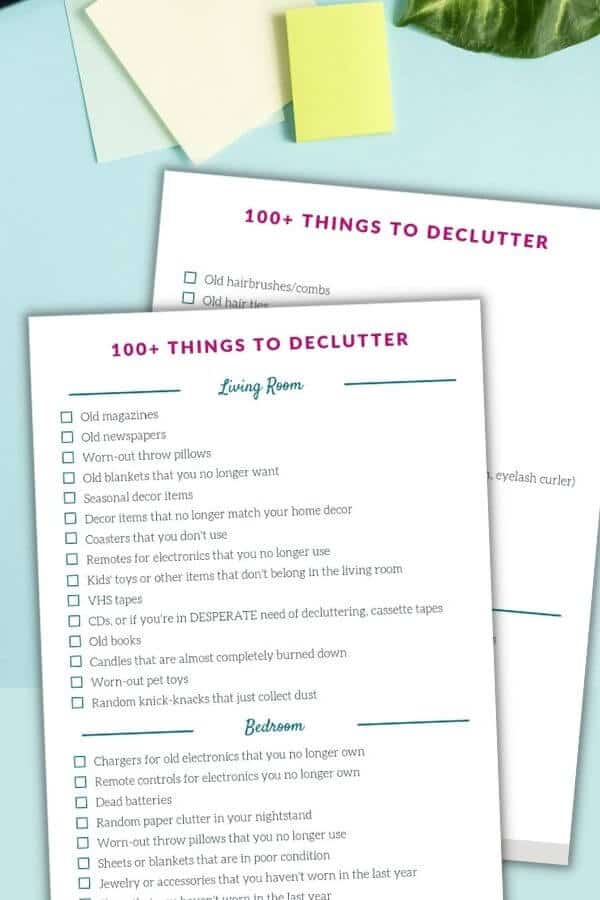 printable checklist of things to declutter