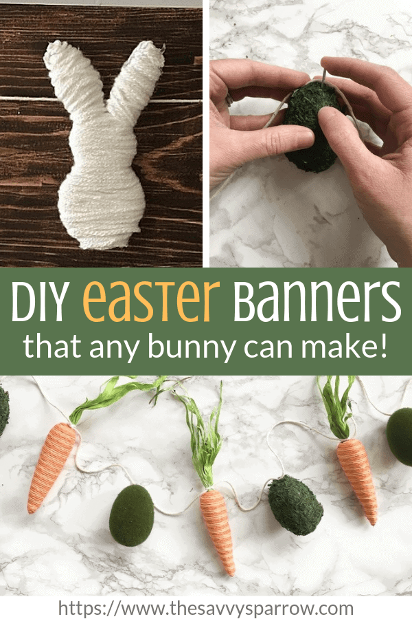 These easy DIY Easter banners are perfect for your DIY spring mantel decor ideas! DIY Spring garland!