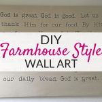 This large DIY wall art using drop cloths is the perfect DIY wall decor for your farmhouse decor