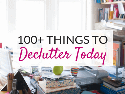 This list of 100 things to declutter is perfect for Spring Cleaning! Get ideas for things to declutter from every room of your home, including things to declutter from the kitchen, living room, bedroom, bathrooms and more! Handy printable declutter checklist included!