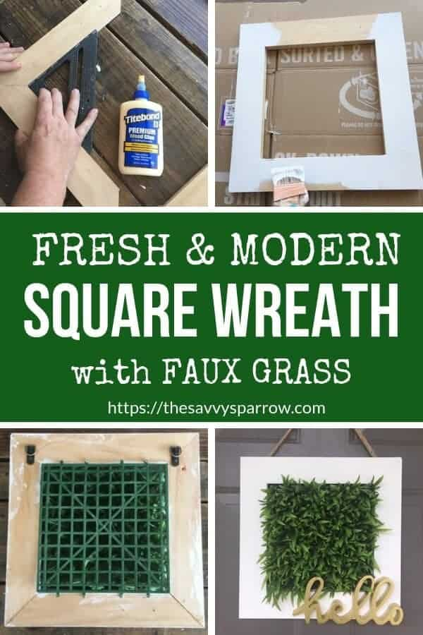 Make this cute and easy DIY square wreath for your fresh and modern front porch decor! A perfect DIY wreath to hang year round!