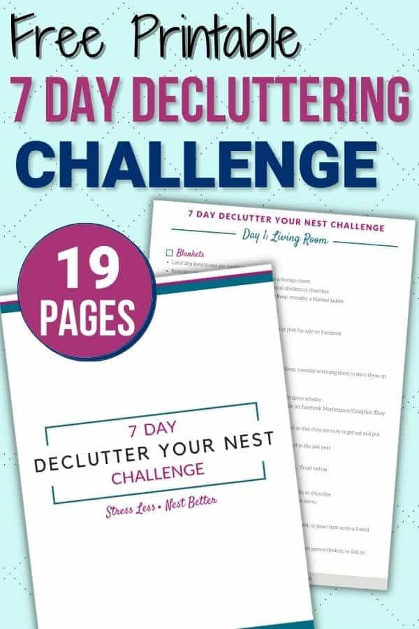 printable one week decluttering challenge mockup
