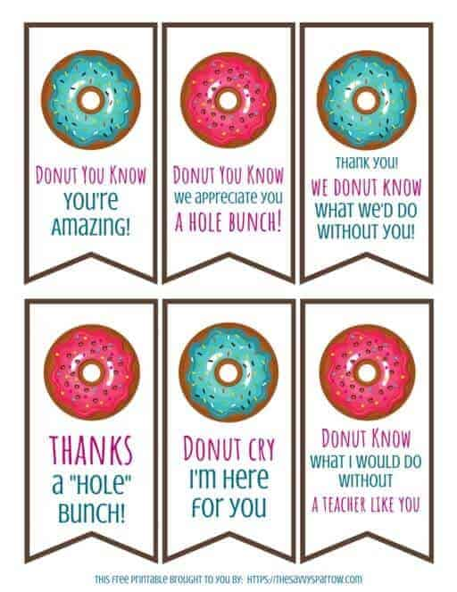 photo regarding Free Printable Teacher Appreciation Tags referred to as Donut Present Tags - Totally free Printables for Trainer Reward Designs