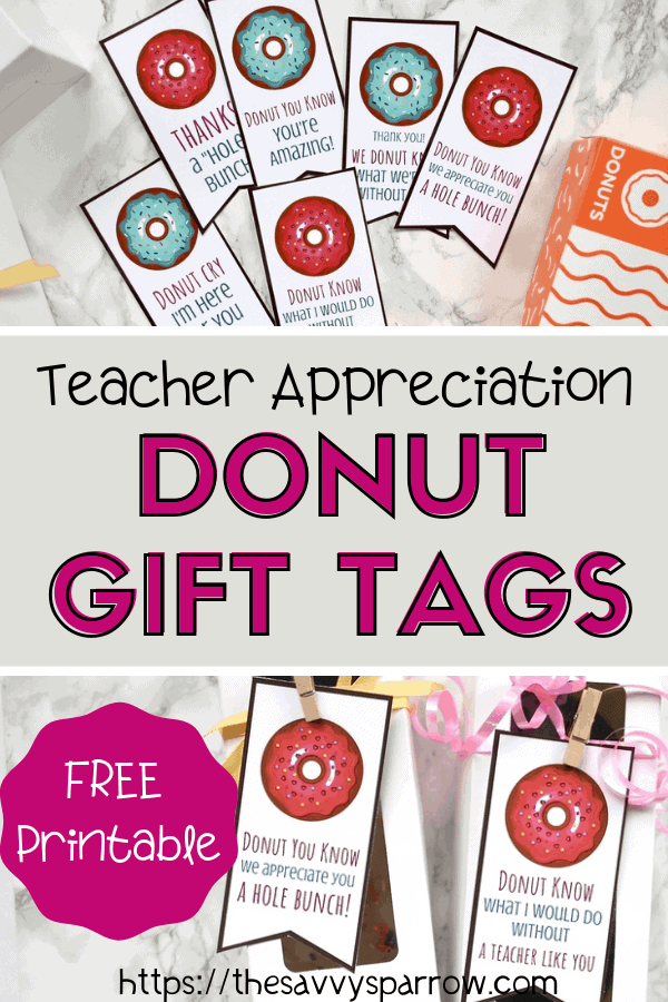 image regarding Free Printable Teacher Appreciation Tags called Donut Present Tags - No cost Printables for Instructor Reward Tips