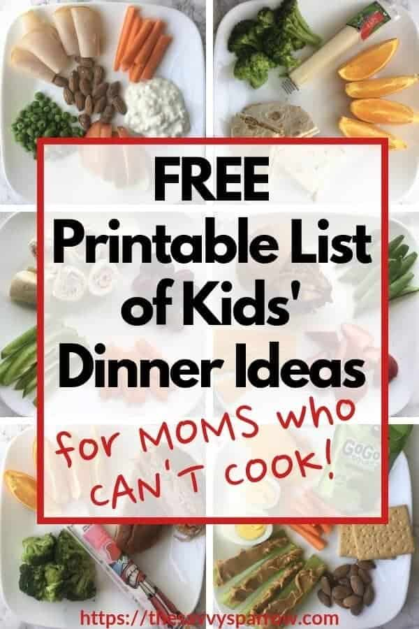 collage of healthy snack plate dinner ideas for kids
