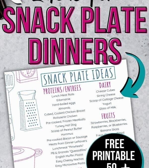 free printable list of snack plate ideas