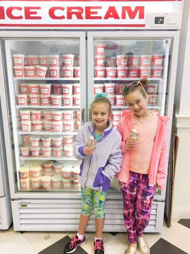 two girls standing in front of an ice cream freezer