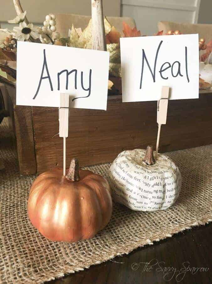 Thanksgiving Place Card Holders The Savvy Sparrow