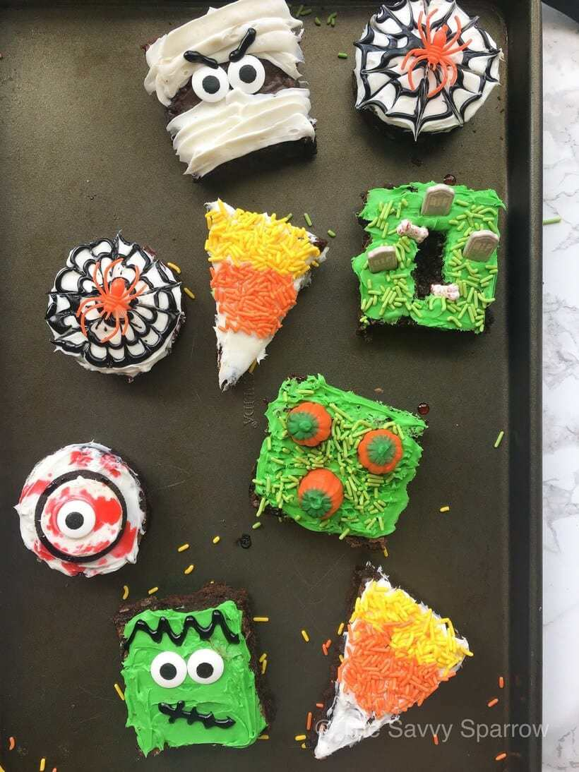 decorated Halloween brownies on a sheet pan
