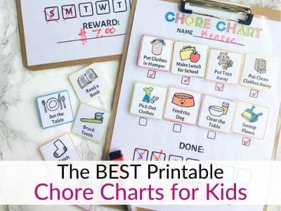 Printable chore charts for kids with age appropriate chores!
