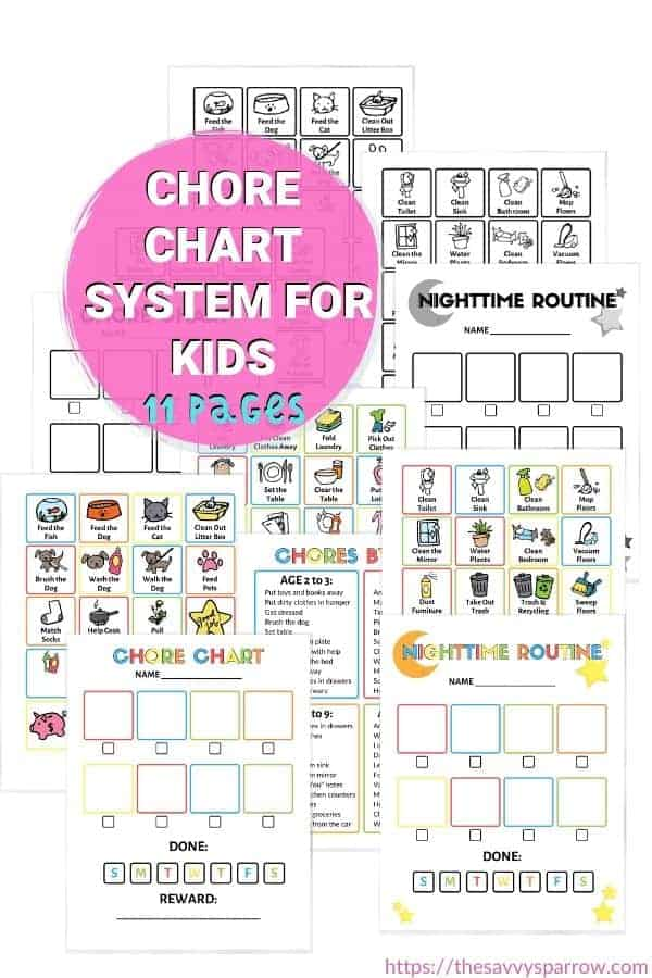 picture of printable pages included in the chore charts for kids bundle