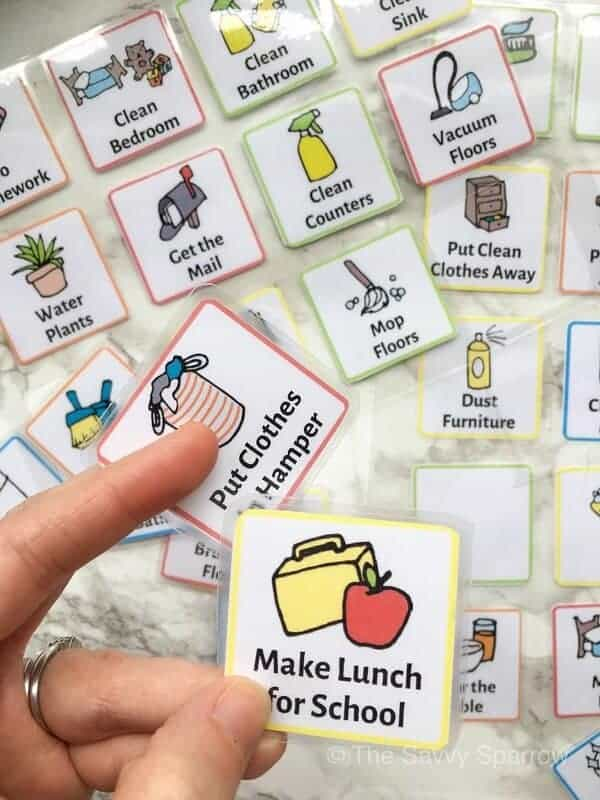 printable chore cards that say make lunch for school and put clothes in hamper