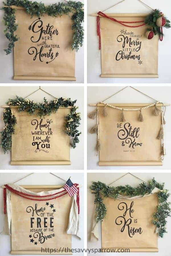 collage of 6 different holiday themed scroll signs