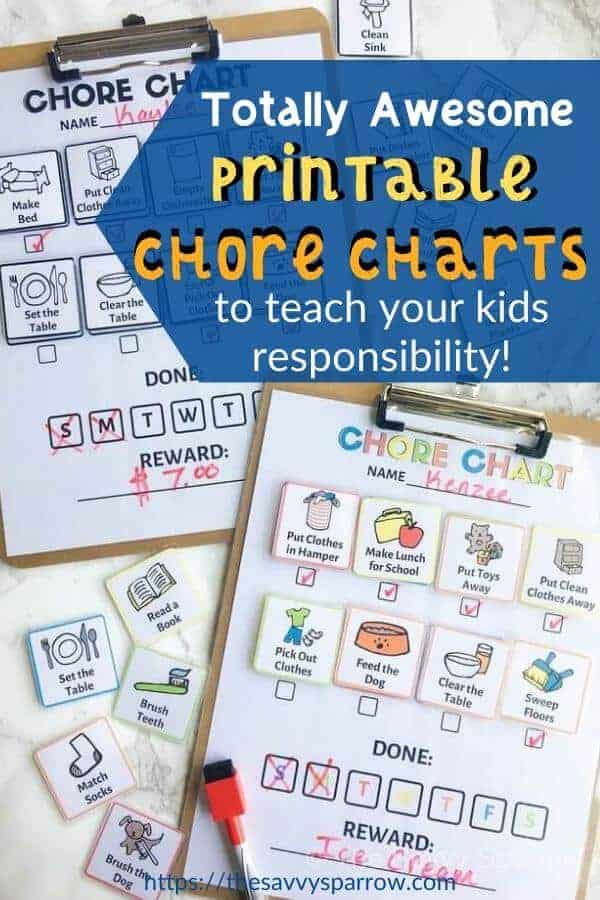 chore charts for kids on clipboards with dry erase markers