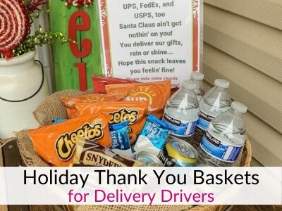 Holiday Thank You Basket for Delivery Drivers with Free Printable