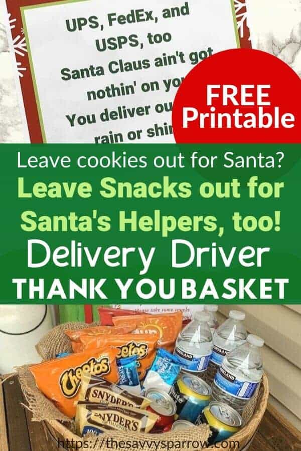 Holiday Thank You basket for delivery drivers with Free printable Thank You sign!