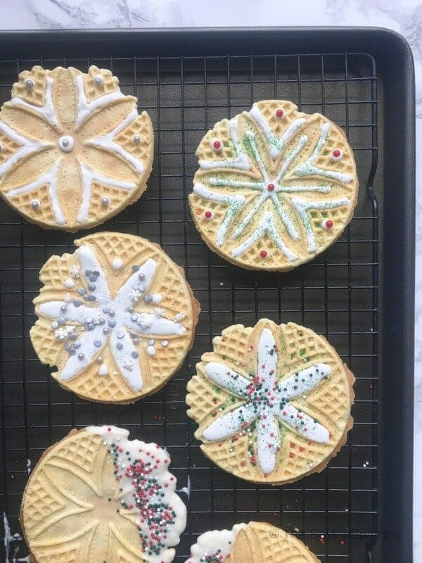 No bake Christmas cookies from store bought pizzelle cookies!