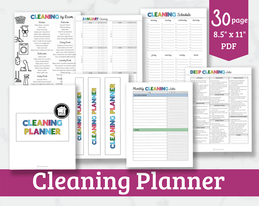 printable cleaning planner with cleaning checklists and schedules