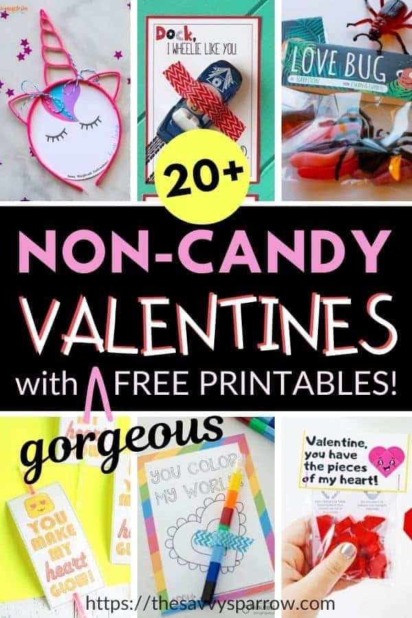 collage of non candy Valentines with free printables