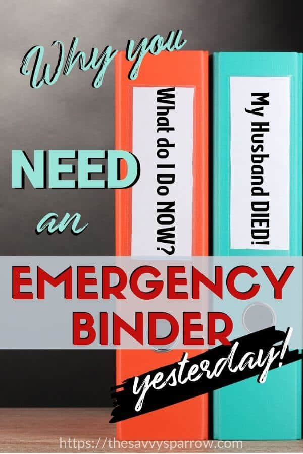 Emergency Binder for Emergency Preparedness
